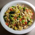 Pork Fried Rice with Edamame, Corn, Broccoli and Carrots